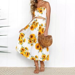 2 PIECE FLORAL BANDEAU TOP AND MIDI SKIRT-NEW